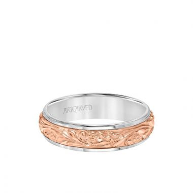 ArtCarved 6MM Men's Wedding Band - Intricate Engraved Scroll Design and Rolled Edge in 14k White and Rose Gold