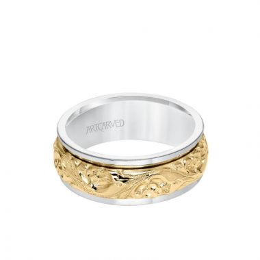 ArtCarved 8MM Men's Wedding Band - Intricate Engraved Scroll Design and Round Edge in 14k White and Yellow Gold