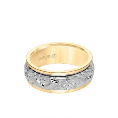 ArtCarved 8MM Men's Wedding Band - Intricate Engraved Scroll Design and Round Edge in 14k Yellow and White Gold