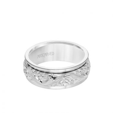 ArtCarved Platinum 8MM Men's Wedding Band - Intricate Engraved Scroll Design and Round Edge