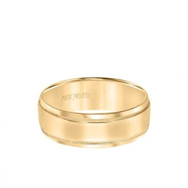 ArtCarved 5.5MM Men's Wedding Band - High Polish Finish with Milgrain Detail and Bevel Edge in 14k Yellow Gold