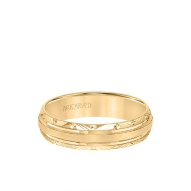 ArtCarved 5.5MM Men's Wedding Band - High Polish Finish and Engraved Edge in 14k Yellow Gold