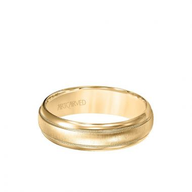 ArtCarved 6MM Men's Wedding Band - Brush Finish with Milgrain and Round Edge in 18k Yellow Gold