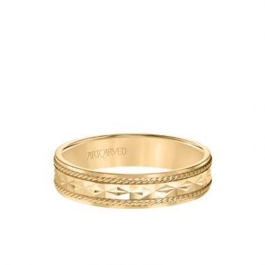 ArtCarved 5MM Men's Wedding Band - Engraved Design with Rope Detailing and Rolled Edge in 14k Yellow Gold
