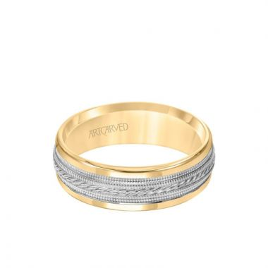 ArtCarved 7MM Men's Wedding Band - Rope and Milgrain Center and Round Edge in 14k Yellow and White Gold