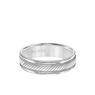 ArtCarved 6MM Men's Classic Wedding Band - Diagional Swiss Cut Engraved Design with Milgrain and Round Edge in 18k White Gold