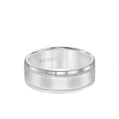 ArtCarved 7.5MM Men's Classic Polished Wedding Band - Polished Finish with Milgrain Detail and Round Edge in 18k White Gold