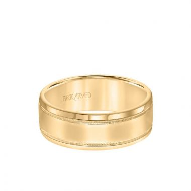 ArtCarved 7.5MM Men's Classic Polished Wedding Band - Polished Finish with Milgrain Detail and Round Edge in 14k Yellow Gold