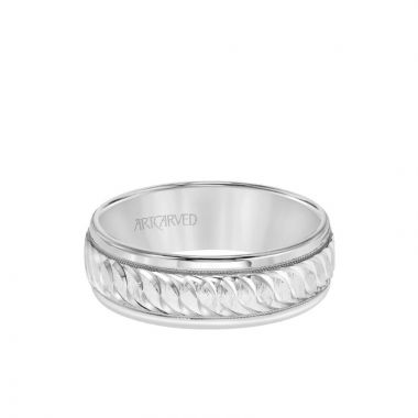 ArtCarved 7MM Men's Classic Wedding Band - Swiss Cut Engraved Design with Milgrain and Round Edge in 14k White Gold