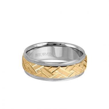 ArtCarved 7MM Men's Classic Wedding Band - Criss-Cross Swiss Cut Engraved Design with Milgrain and Round Edge in 14k White and Yellow Gold
