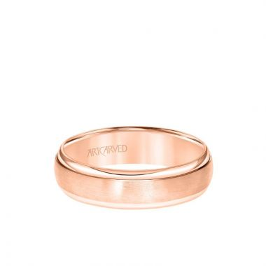 ArtCarved 6MM Men's Classic Wedding Band - Brush Finish and Polished Round Edge in 14k Rose Gold