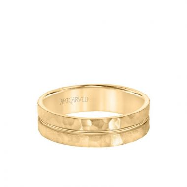 ArtCarved 6MM Men's Wedding Band - Hammered Finish with Polished Center Groove in 14k Yellow Gold