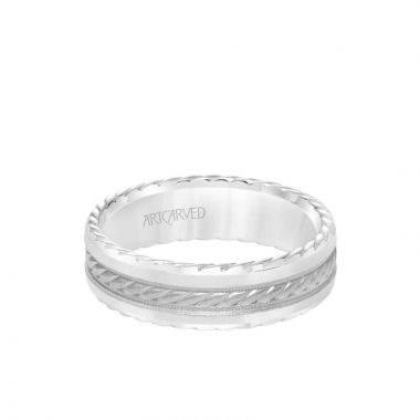ArtCarved 6.5MM Men's Wedding Band - Soft Sand Finish with Rope Center, and Bevel Edge with Side Rope Detail in 14k White Gold