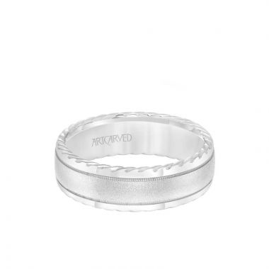 ArtCarved 7MM Men's Wedding Band - Soft Sand Finish and Round Edge with Rope Detail and Milgrain Accents in 18k White Gold