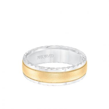 ArtCarved 7MM Men's Wedding Band - Soft Sand Finish and Round Edge with Rope Detail and Milgrain Accents in 14k White and Yellow Gold