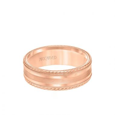 ArtCarved 7MM Men's Wedding Band - Bright Brush Finish with Milgrain Accents and Serrated and Rope Edge in 14k Rose Gold