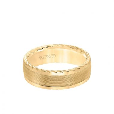 ArtCarved 7MM Men's Wedding Band - Serrated Finish with Round Edge with Rope Detail in 18k Yellow Gold