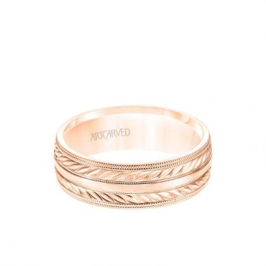 ArtCarved 7MM Men's Wedding Band - Wheat Mofif with Milgrain Accents and Milgrain Edge in 18k Rose Gold