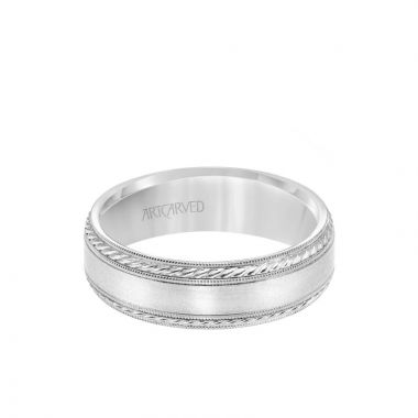 ArtCarved Platinum 6.5MM Men's Wedding Band - Satin Finish with Rope and Milgrain Accents and Milgrain Edge