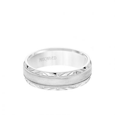 ArtCarved 6.5MM Men's Wedding Band - Wire Emery Finish with Milgrain and Textured Vintage Design Bevel Edge in 18k White Gold