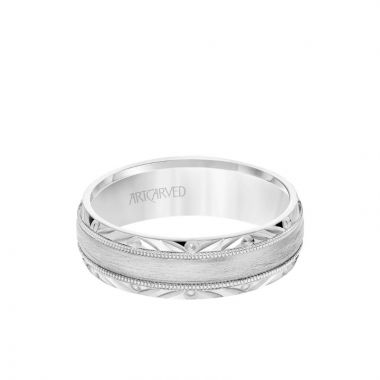 ArtCarved 6.5MM Men's Wedding Band - Wire Emery Finish with Textured Vintage Design and Milgrain Bevel Edge in 18k White Gold