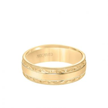 ArtCarved 6.5MM Men's Wedding Band - Wire Emery Finish with Textured Vintage Design and Milgrain Bevel Edge in 18k Yellow Gold