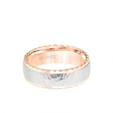 ArtCarved 7MM Men's Wedding Band - Hammered Finish with Rope Edge in 14k Rose and White Gold