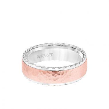 ArtCarved 7MM Men's Wedding Band - Hammered Finish with Rope Edge in 14k White and Rose Gold