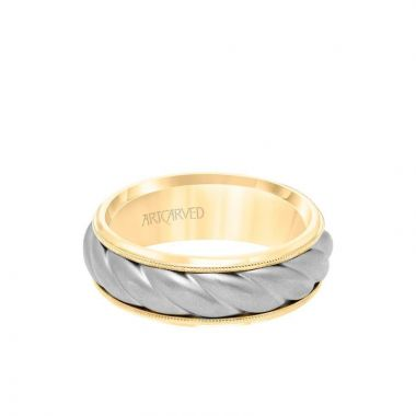 ArtCarved 7MM Men's Wedding Band - Soft Sand Finish with Oversize Rope Inlay and Milgrain Edge in 14k Yellow and White Gold
