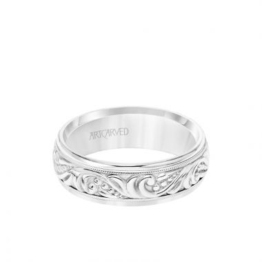 ArtCarved Platinum 7MM Men's Wedding Band - Engraved Paisley Design with Milgrain Detail and Round Edge