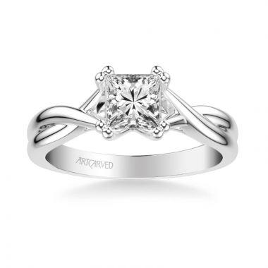ArtCarved Platinum Solitude Contemporary Solitaire Twist Diamond Engagement Ring
