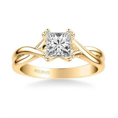 ArtCarved Solitude Contemporary Solitaire Twist Diamond Engagement Ring in 14k Yellow Gold