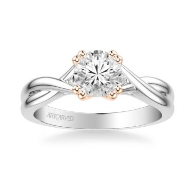 ArtCarved Solitude Contemporary Solitaire Twist Diamond Engagement Ring in 14k White and Rose Gold