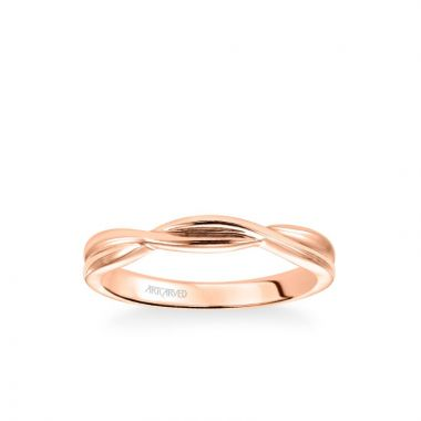 ArtCarved Solitude Contemporary Polished Twist Wedding Band in 18k Rose Gold