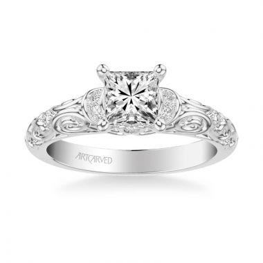 ArtCarved Platinum Peyton Vintage Side Stone Diamond Engagement Ring