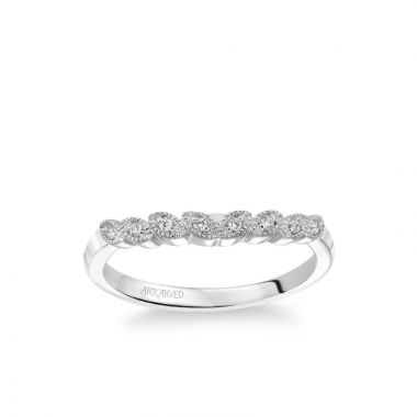 ArtCarved Adeline Contemporary Diamond and Milgrain Floral Wedding Band in 14k White Gold