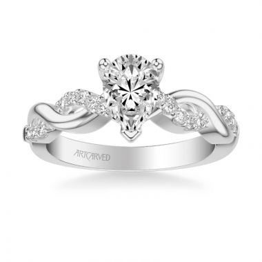 ArtCarved Gabriella Contemporary Side Stone Twist Diamond Engagement Ring in 14k White Gold