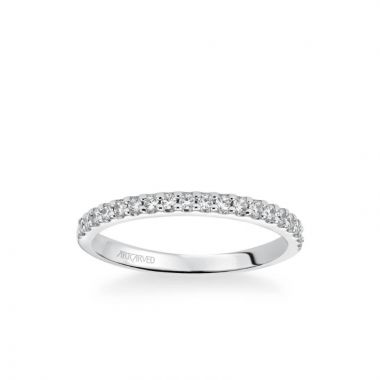 ArtCarved Layla Classic Diamond Wedding Band in 14k White Gold