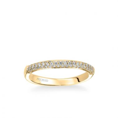 ArtCarved Ariel Classic Diamond Pave Wedding Band in 18k Yellow Gold