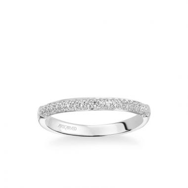 ArtCarved Reese Classic Diamond Pave Wedding Band in 18k White Gold