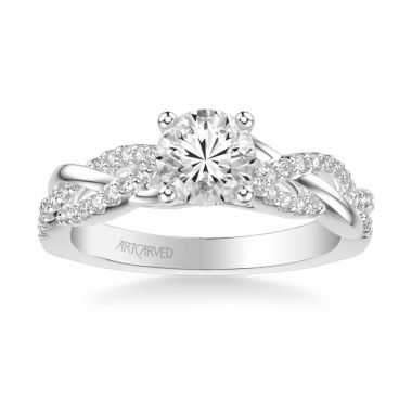 ArtCarved Virginia Contemporary Side Stone Twist Diamond Engagement Ring in 18k White Gold