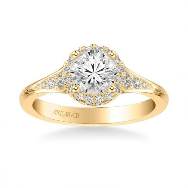 ArtCarved Farrah Vintage Round Halo Diamond Engagement Ring in 18k Yellow Gold