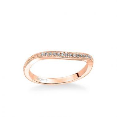 ArtCarved Farrah Vintage Diamond Engraved Wedding Band in 14k Rose Gold