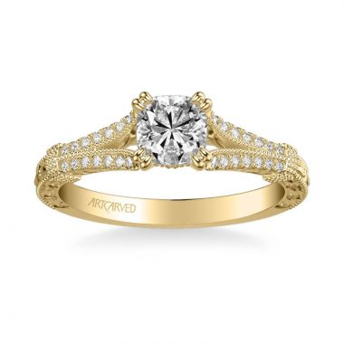 ArtCarved Angelina Vintage Side Stone Diamond Engagement Ring in 18k Yellow Gold