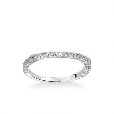 ArtCarved Angelina Vintage Diamond and Milgrain Engraved Wedding Band in 14k White Gold