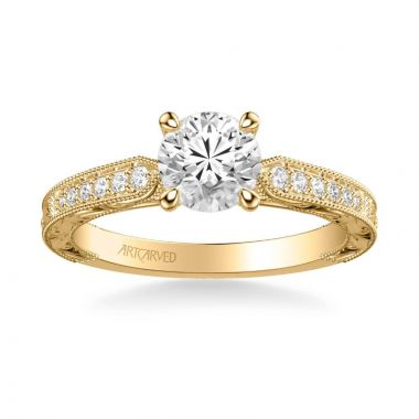ArtCarved Julie Vintage Side Stone Diamond Engagement Ring in 18k Yellow Gold