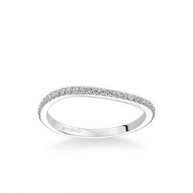 ArtCarved Milena Contemporary Diamond Wedding Band in 18k White Gold