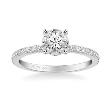 ArtCarved Sybil Classic Side Stone Diamond Engagement Ring in 18k White Gold