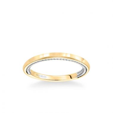 ArtCarved Cameron Contemporary Polished and Rope Wedding Band in 14k White and Yellow Gold