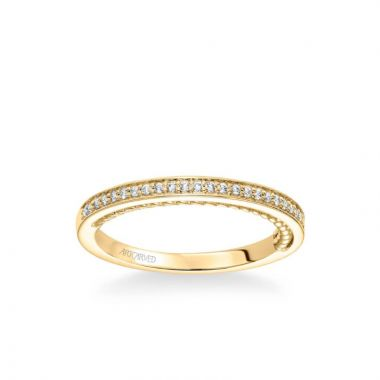 ArtCarved Marlow Contemporary Diamond and Rope Wedding Band in 14k Yellow Gold